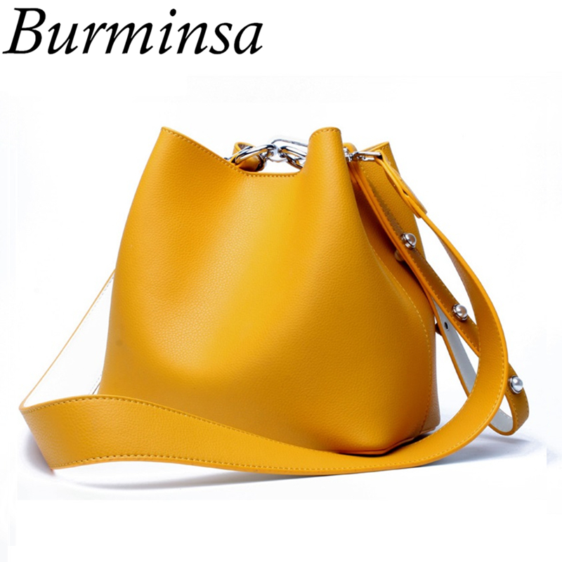 Burminsa Brand Mini Bucket Genuine Leather Bags Ladies Macarons Color Shoulder Bags Designer Handbags Crossbody Bags For Women