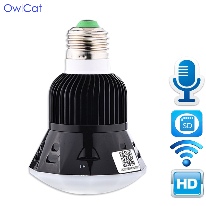 OwlCat 1080P HD New Mini Lamp WIFI Camera Bulb Light Wireless IP Camera Support 128GB SD Card 360 Panoramic FishEye 3D VR Lens zilnk new mini lamp bulb light wifi camera fisheye 1080p hd wireless ip camera 360 degree panorama lens support 128gb tf card