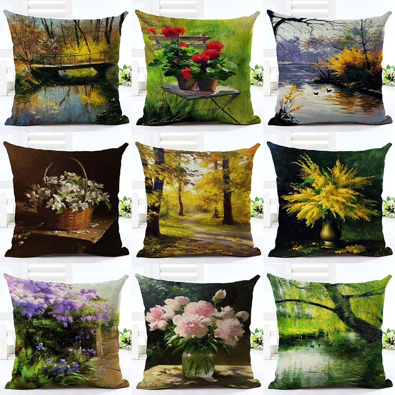 Modern Style Decorative Throw Pillow Oil Painting Plant Cotton Linen Cushion Cover For Sofa Home Decor Pillowcase Almofadas ...