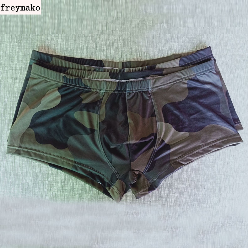 Fashion Military Style Underwear Ultra Slim Camouflage Underpants Boxers Shorts Sexy Men's U Convex Underwear
