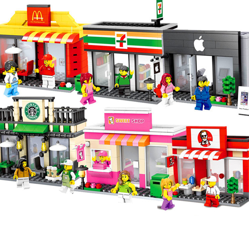 Mini Street Model Store Shop with McDonald`s Building Block Apple Store Toys Compatible with Legoingly Hsanhe Gift