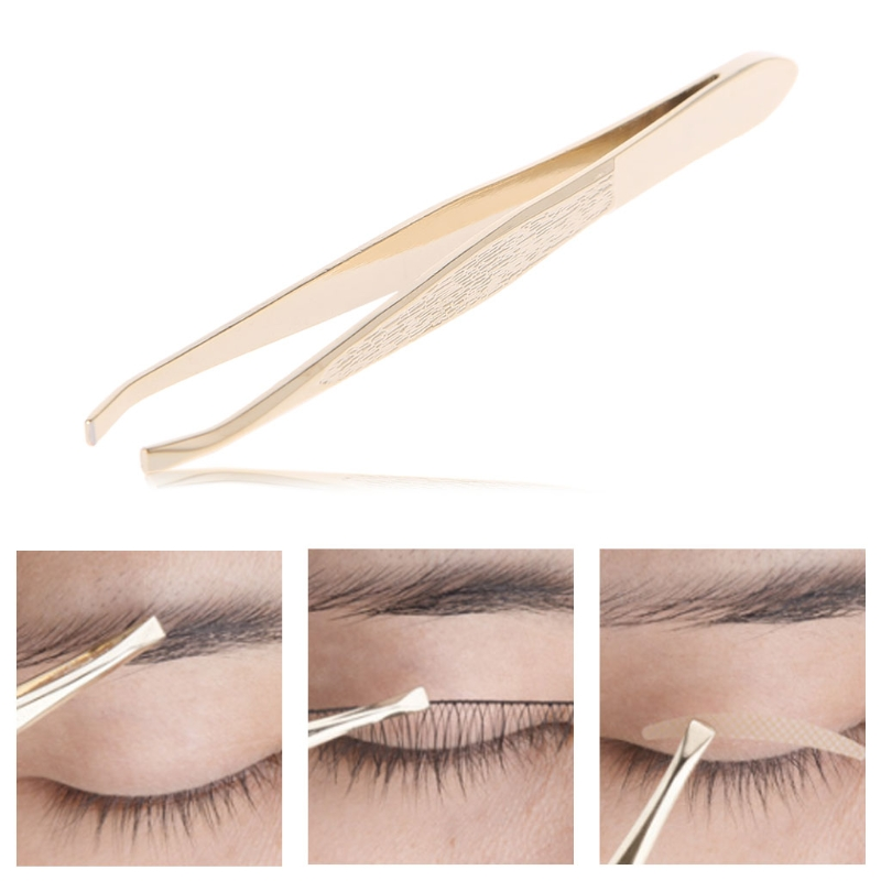 Pro Beauty Eyebrow Facial Hair Removal Pluking Removing Tweezers Flat Tip Tool