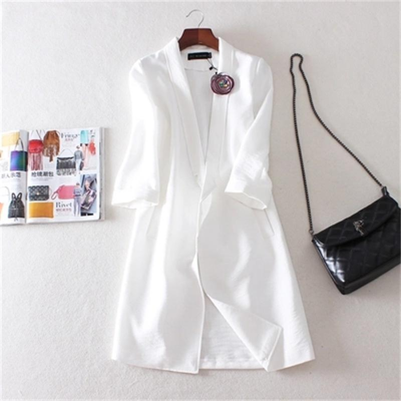 Women Blazers 2018 spring and summer new style cotton and linen suit corsage casual long section