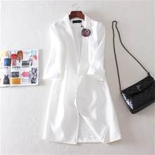 Women Blazers 2018 spring and summer new style cotton and linen suit corsage casual long section linen thin suit jacket female(China)