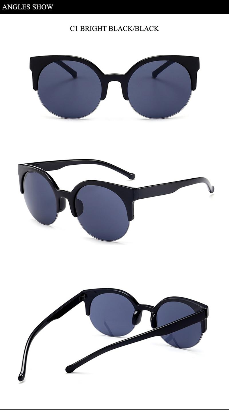 5 female lady semi-rimless sunglasses