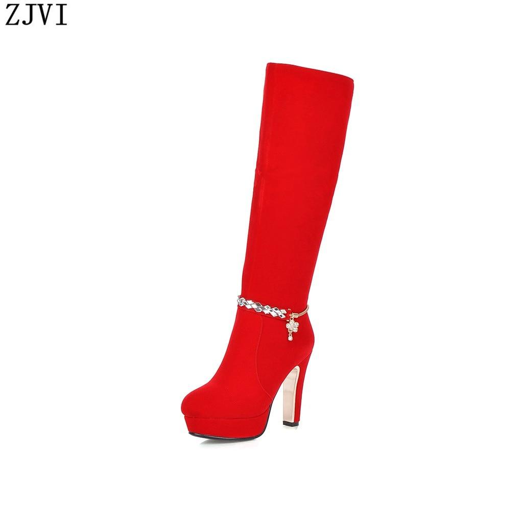 ФОТО ZJVI ladies autumn winter woman knee high boot fashion womens platform shoes women black red nubuck thigh high heels boots