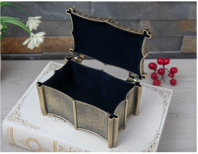 Egyptian style bronze color metal jewelry box cotton swabs box metal storage boxdrawer organizer Z188