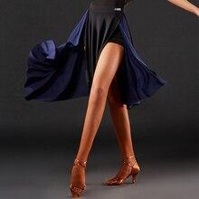 Женская юбка для латинских танцев, Румба ча-ча Самба, танцевальная одежда для выступлений, сценическая одежда для взрослых, модные сексуальные юбки с разрезом DN3323