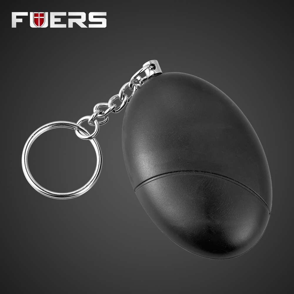 New Fashion Personal SOS Personal Anti-Attack Egg Shape Keychain Anti-Security Alarm System Self Defense for Girl Child Black