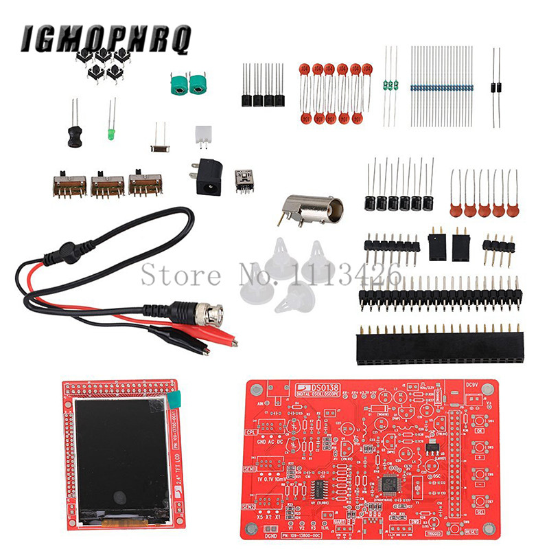 DSO138 2.4 TFT Digital Oscilloscope Kit DIY 200KHz Tester 1Msps Bandwidth Probe Electronic Production Suite DSO138 2.4 TFT Digital Oscilloscope Kit DIY 200KHz Tester 1Msps Bandwidth Probe Electronic Production Suite