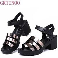 Women Sandals Genuine Leather Platform Thick Heel Summer Shoes Open Toe Sandals Platform Women S Shoes