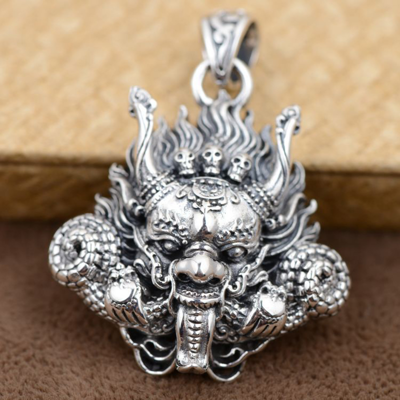 Thai Silver 925 Sterling Silver Pendant Antique Style Dragon Head With Skulls Mahakala Personality Punk Mens Accessories 2017