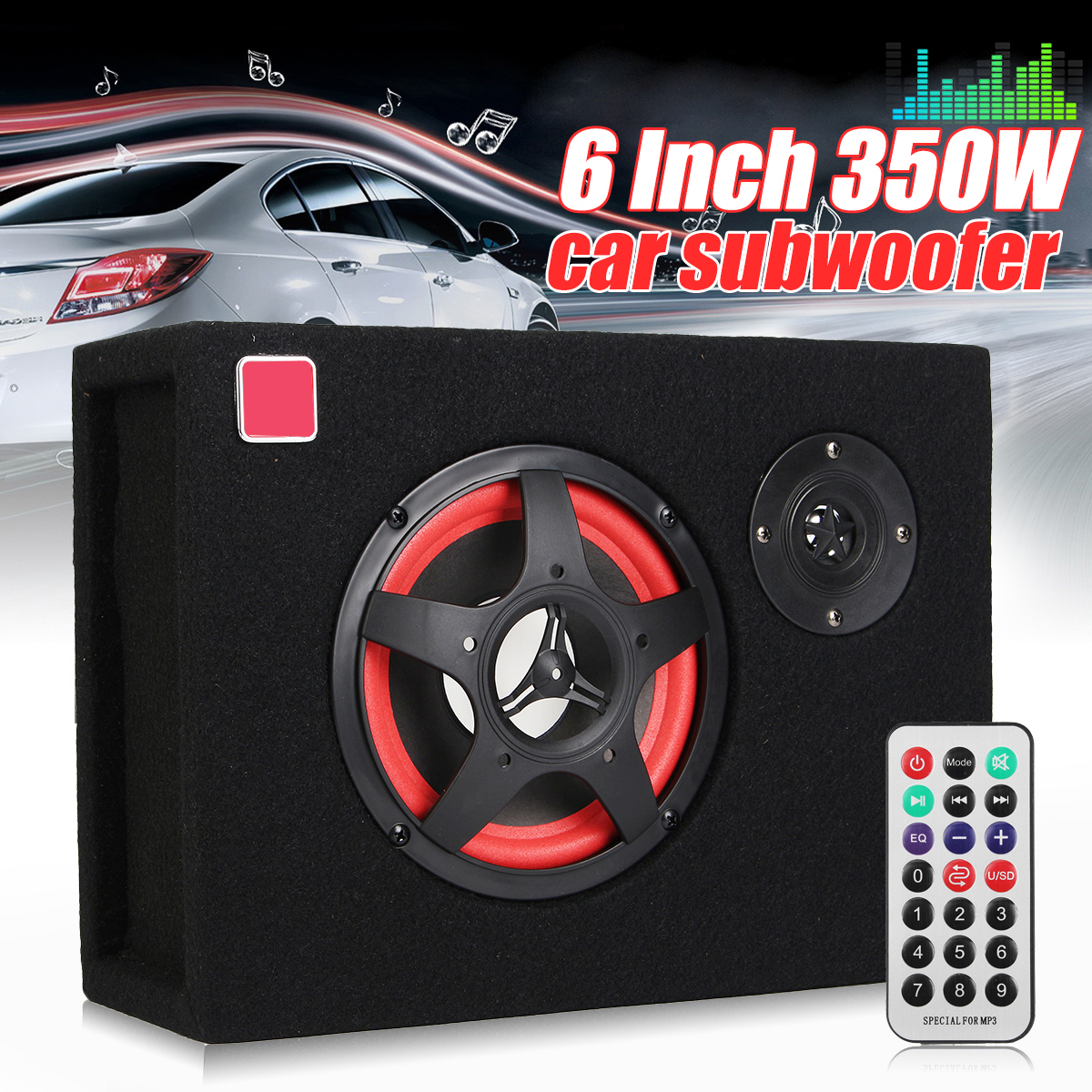 6 Inch Compact Car Active Amplified Under Seat Powered Subwoofer Bass Speaker 350W Car Subwoofer Speaker Audio Stereo
