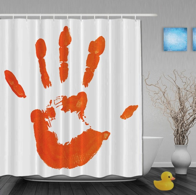 Splash Printing Orange Shower Curtain Funny Palm Hand Shower ...
