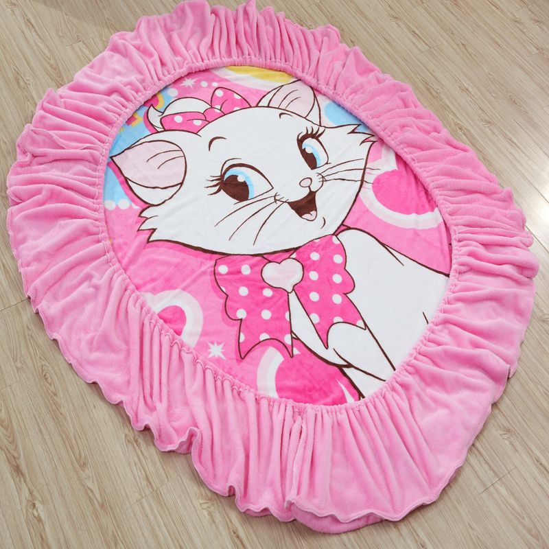 Disney Pink Marie Flannel Fitted Sheet with an Elastic Band Bed Sheets Linen Bedspread Polyester Mattress Cover Single Twin Full ...