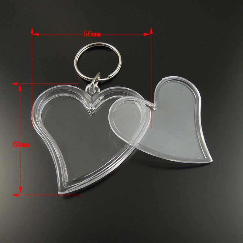 Wholesale 8pcs/pack Graceangie Key ring Key Chain Heart Shape Transparent Blank Plastic Insert Photo Picture Frame Jewelry 35659
