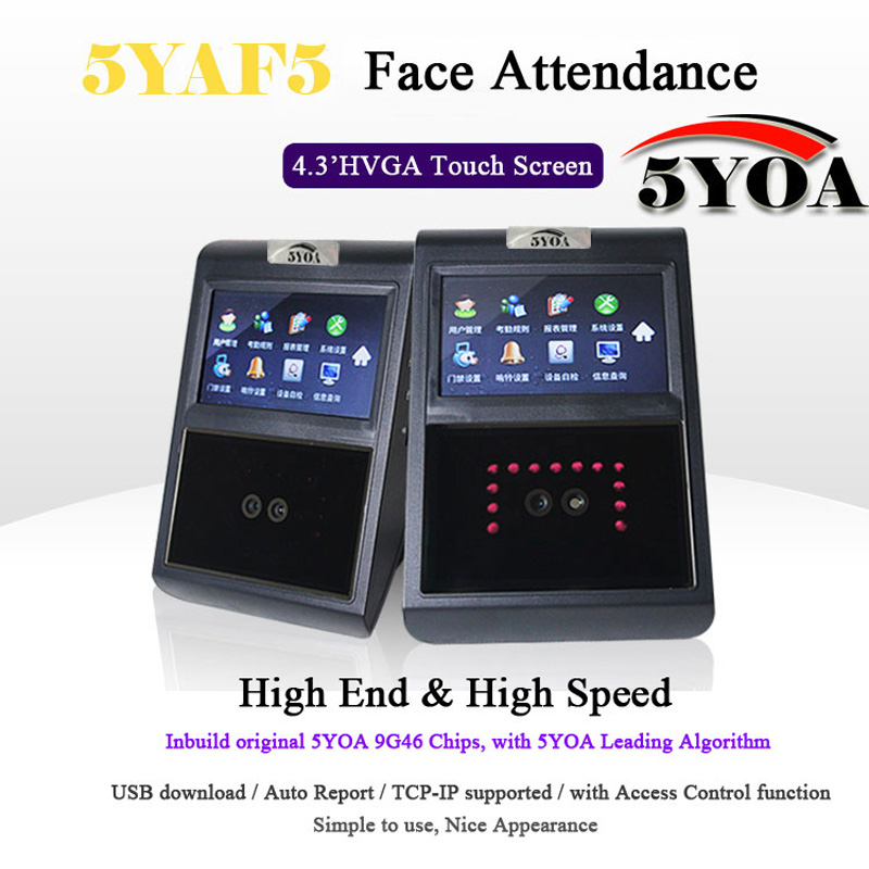 5YOA 5YAF5 Face Facial TCP IP Attendance Access Control Biometric Time Clock Recorder Employee Electronic Standalone Reader
