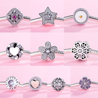 925 Sterling Silver Crystal Beads Charms Family Diy Crystal Heart Beads Fit Women Pandora Charms Silver