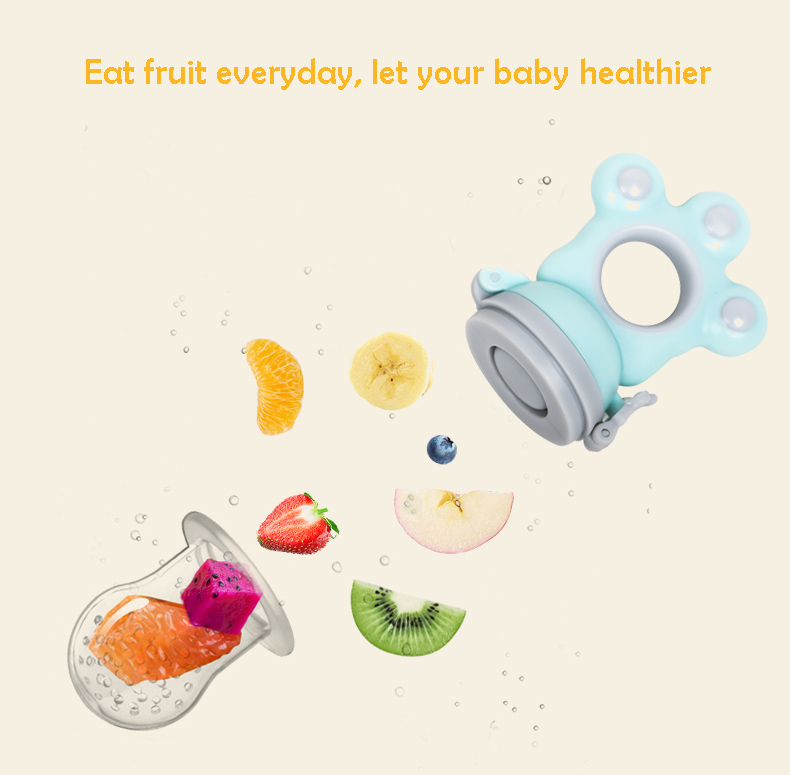 Baby Pacifier Feeding For Fruits Food Soother Nipple Feeder Tool Blue Silicone Infant Nipple Nibbler Free Shipping