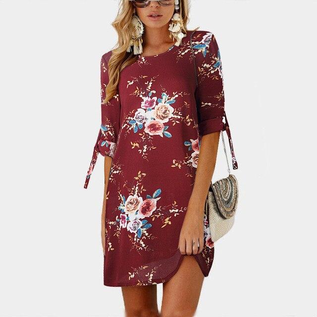 2018 Women Summer Dress Boho Style Floral Print Chiffon Beach Dress Tunic Sundress Loose Mini Party Dress Vestidos Plus Size 5XL 2