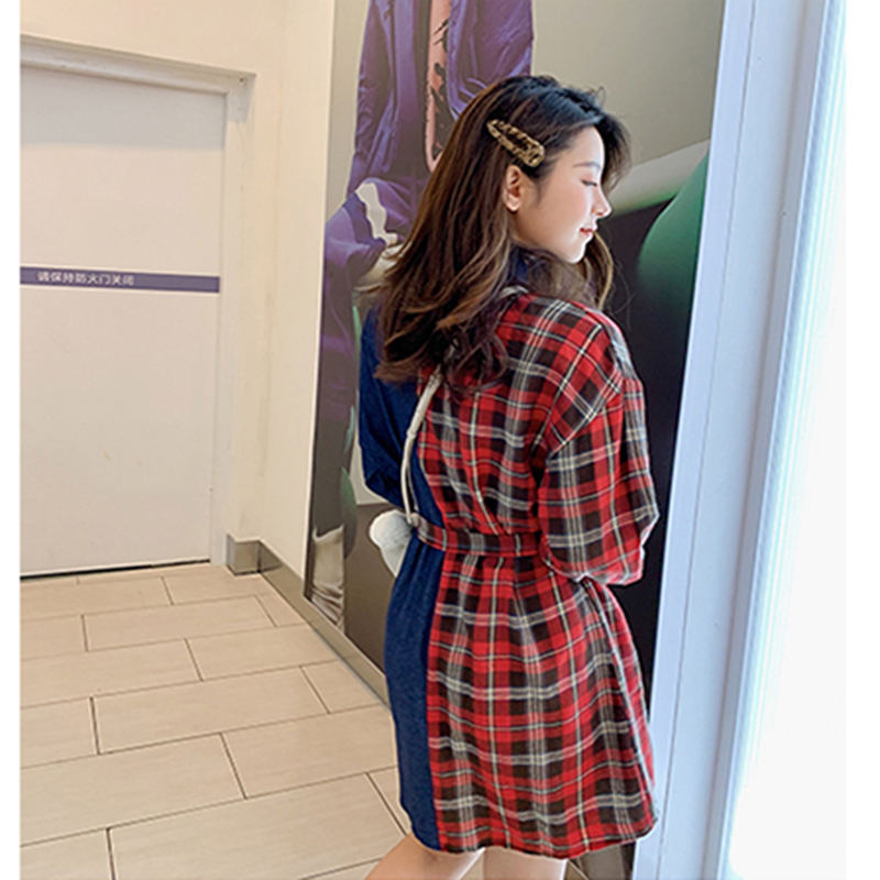 Women 39 s Clothing Long Sleeve Shirt Dress 2019 Spring Denim Patchwork Dresses Women Casual Plaid Contrast Color Vestido Plus Size in Dresses from Women 39 s Clothing
