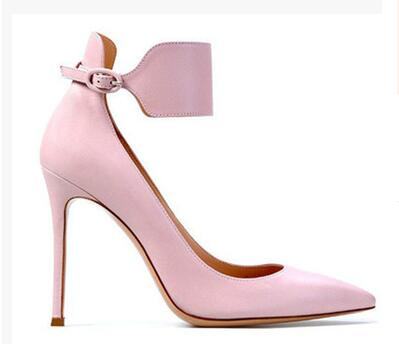 ФОТО Pink Grey Blue Colors Women Pointed Toe Fashion Shoes Ankle Strap Well Matched Clothes Shoes Shallow 11 cm High Heel Pumps