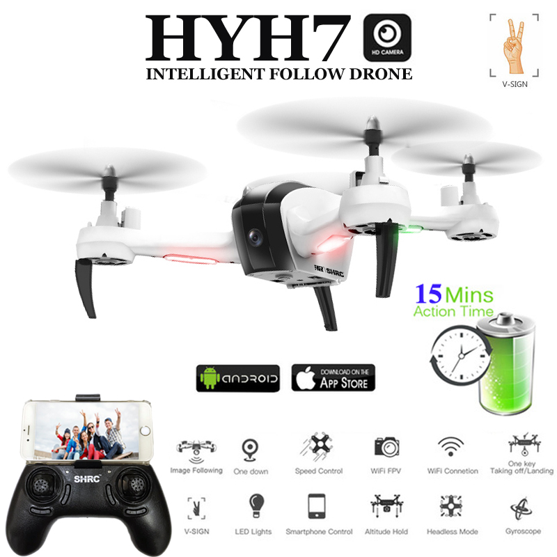 HYH7 Drones with Camera HD Selfi Dron 1080P Follow Mode Gesture Control FPV Quadcopter 5MP Quadrocopter