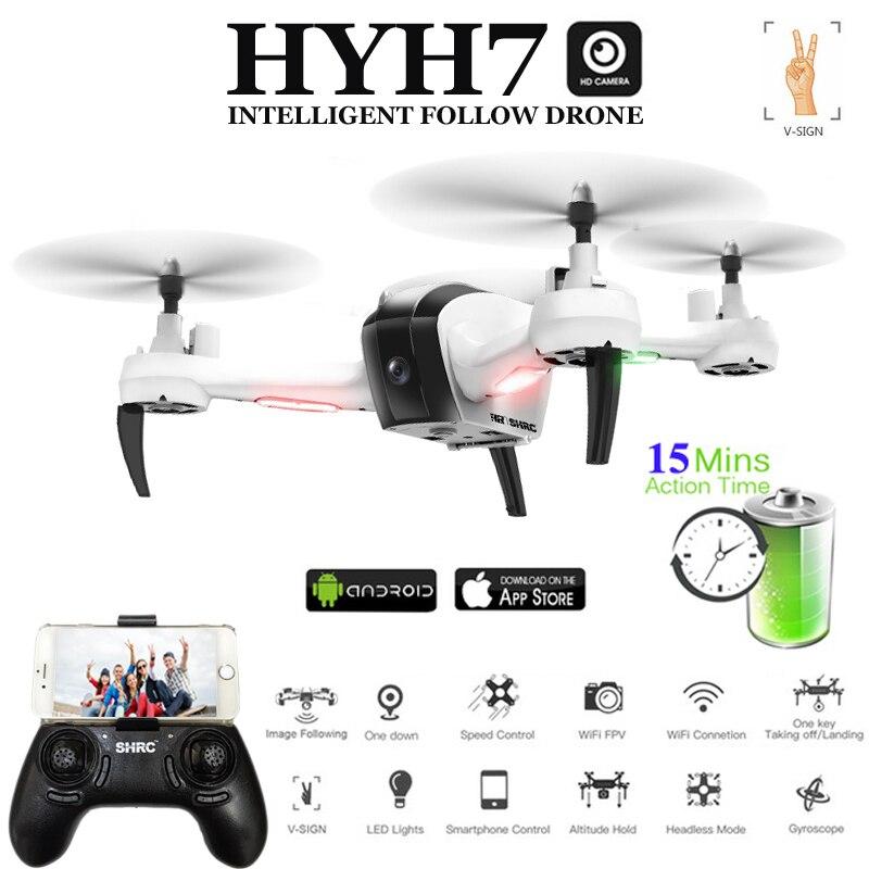 HYH7 Drone avec Caméra HD Selfi Dron 1080 p Mode Suivi Commande Gestuelle FPV Quadcopter 5MP Quadricoptère RC Hélicoptère VS syma X5