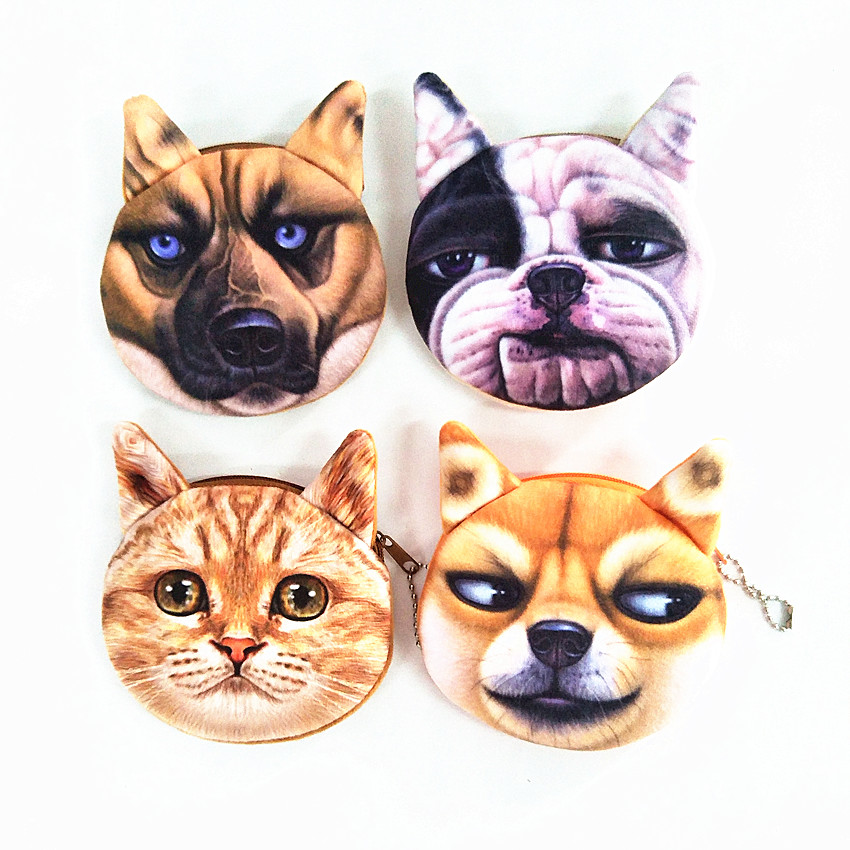 M250 Cute Women Purses Strange Expression 3D Creative Dog Cat Plush Zero Coin Bag Wallet free shipping plush tongue funny cat cat expression a birthday present love cats the gifts of men and women