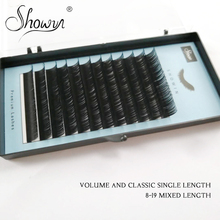 SHOWINLASHES Individual Eyelashes Premium Faux Mink Lashes Mink Individual Eyelash Extension Make Up Maquiagem Cilios genie shadow lashes individual lashes double curl and length faux mink fit for volume eyelash extension make up eye lashes