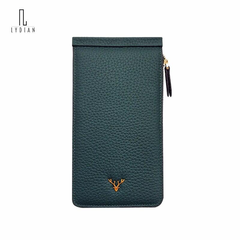 Lydian Rfid Wallets 2018 Brown Slim Long Card Bag Purse Zipper Minimalist Wallet Big Capacity Ladies Brand Wallet Portfel Damski