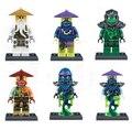 Decool 6 unids/set Ninjagoes Maestro Wu Morro Ronin Ghoultar Acher Cowler figuras de Juguete Para Niños