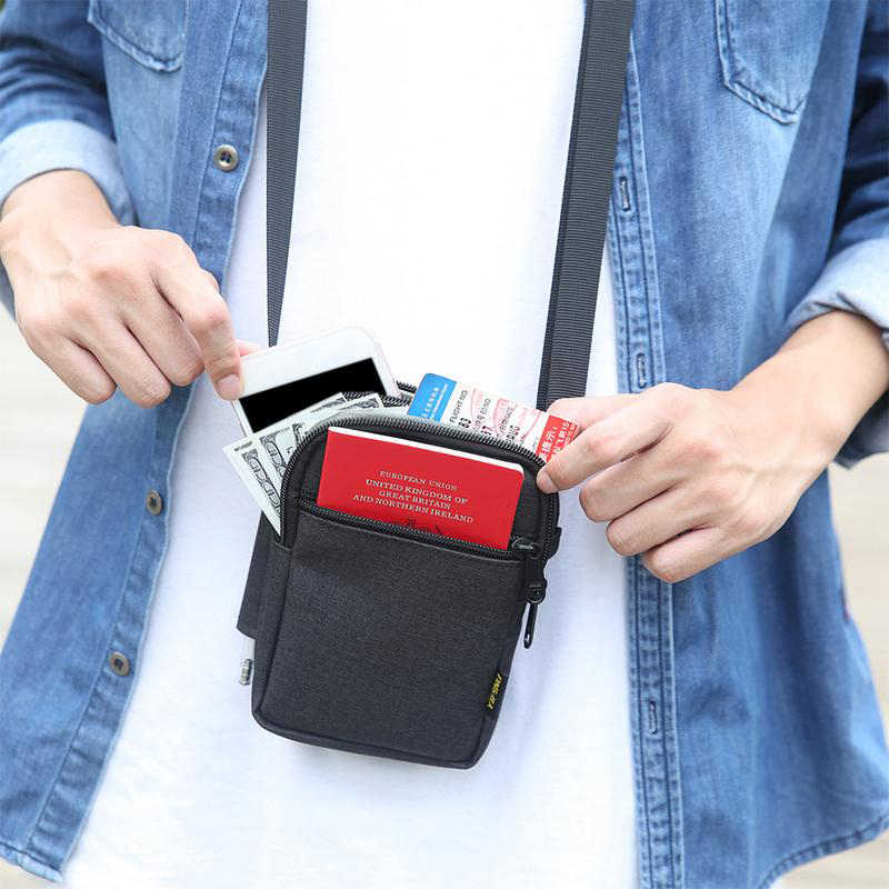 Multi-Function Document Bag Waterproof Mobile Phone Money Bags Outdoor Running Sport Shoulder Bag Men Messenger Belt Bag