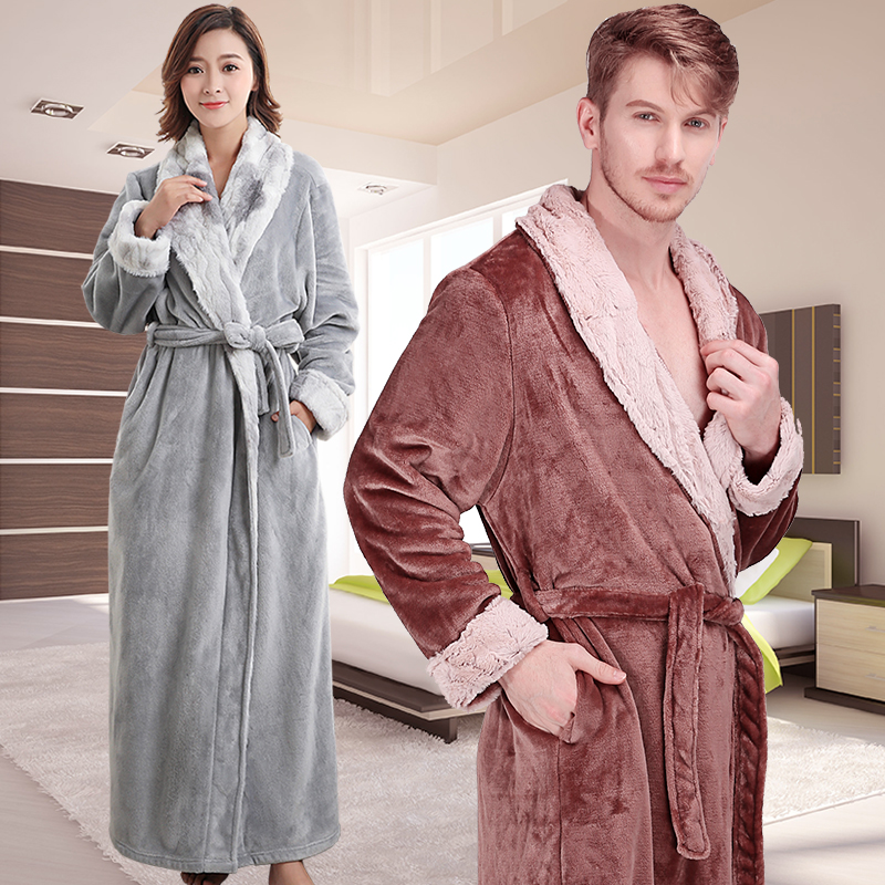 New Men Women Winter Extra Long Thick Warm Flannel Bathrobe Mens Thermal Luxury Fur Bath Robe Soft Silk Dressing Gown Male Robes
