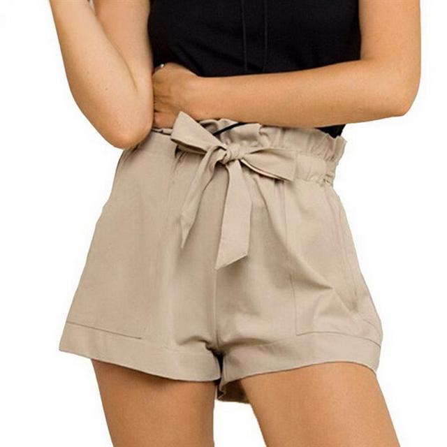 Mujeres de la manera Ocasional Pantalones Cortos de Diseño Del Remiendo Más El Tamaño de Cintura Alta Pantalones Cortos Sueltos Pantalones Cortos de Moda femenina Con Cinturón