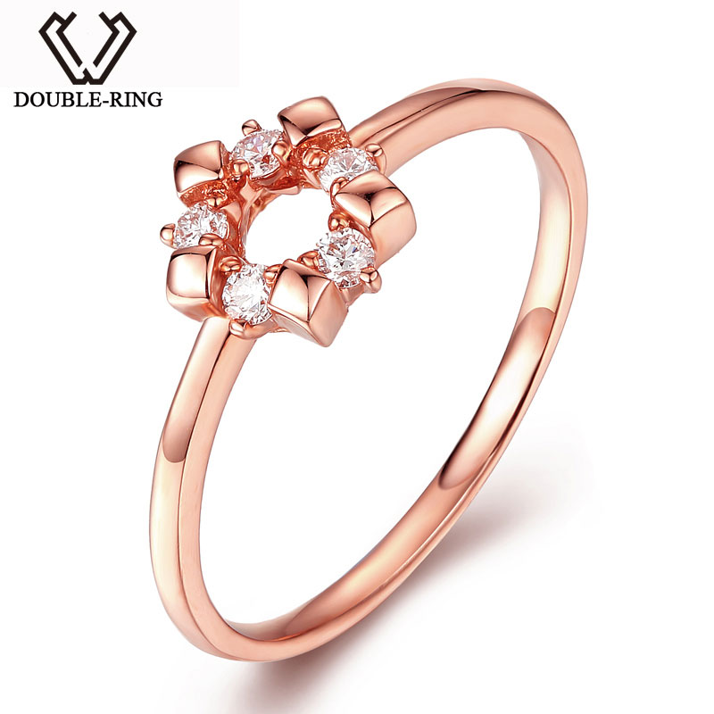 DOUBLE-RING 0.11ct Genuine Diamond Ouro 18k Real Pure Solid 18k Rose Gold Ring Set Wedding Band CAR06961KA-3 new pure au750 rose gold love ring lucky cute letter ring 1 13 1 23g hot sale
