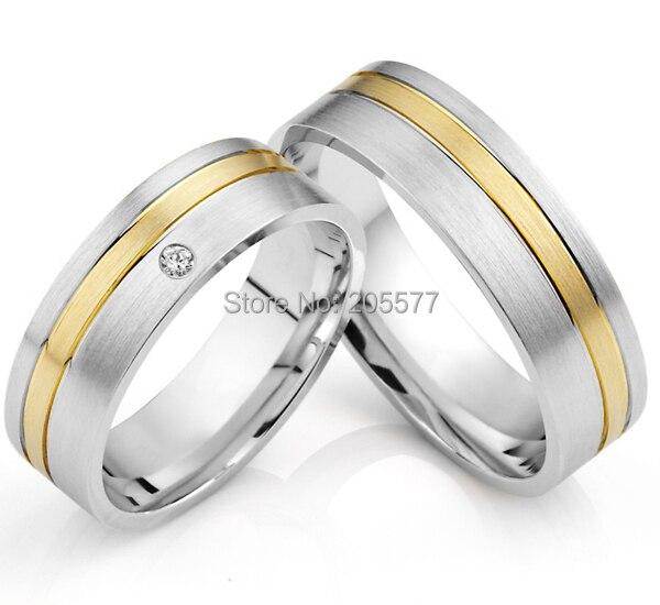 Luxe fait sur commande classique or incrustation titane santé ses et ses bandes de mariage occidentaux couples anneaux ensembles