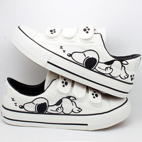 Summer Graffiti Canvas Shoes Flat Hand Painted Cartoon Women Shoes White Size 35~44 Hot Sales Plus Zapatos Mujer