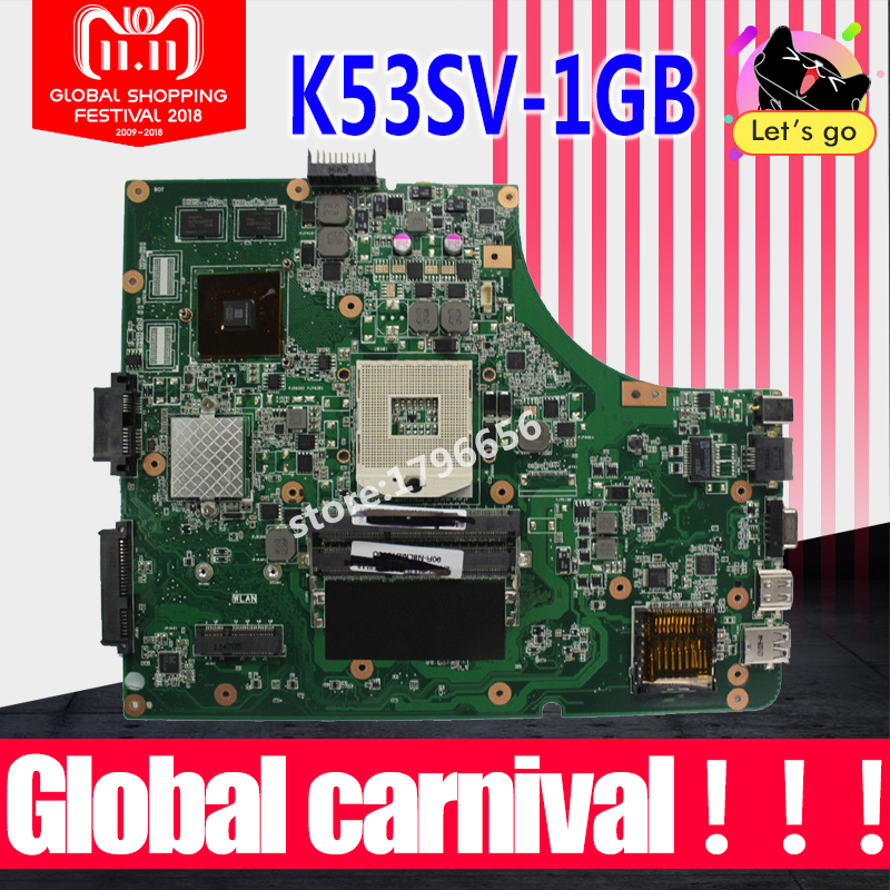 1GB K53SV Motherboard REV 3.1/3.0 For ASUS K53S A53S K53SV K53SJ P53SJ X53S laptop Motherboard K53SV Mainboard test 100% ok цена 2017