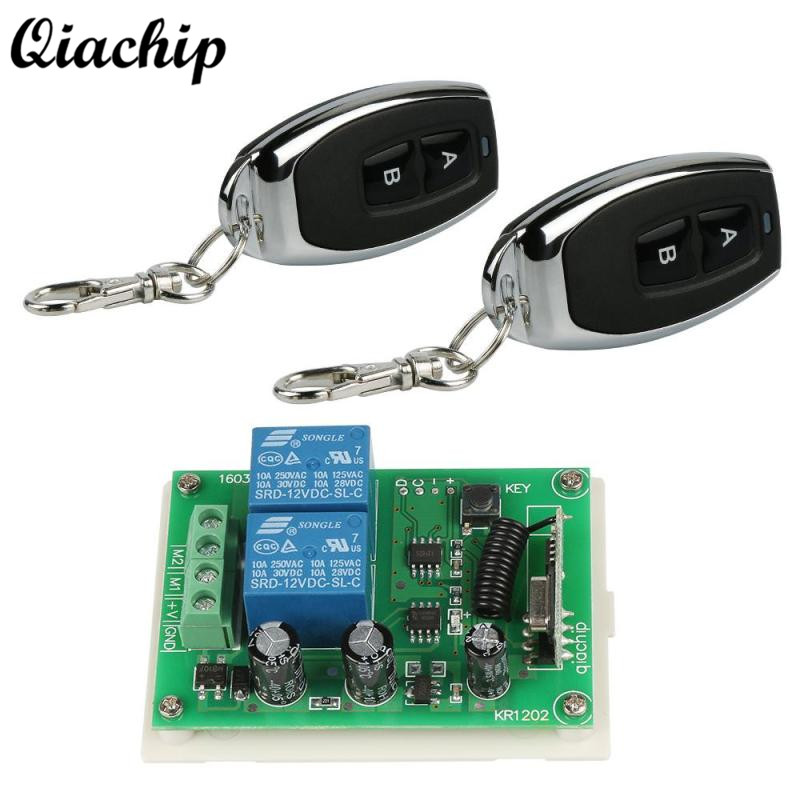 QIACHIP 433Mhz Wireless Remote Control Switch DC 12V 2 CH Receiver Module Light Lamp Controls and RF Remote Controls Transmitter ...