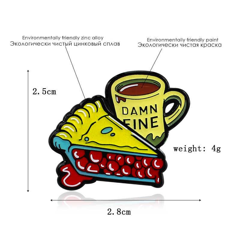 Kuning Pizza Kacang Merah Kopi Cangkir Enamel Bros Pin Pin Gesper Kemeja Lencana Hadiah Fashion untuk Teman Terbaik Perhiasan