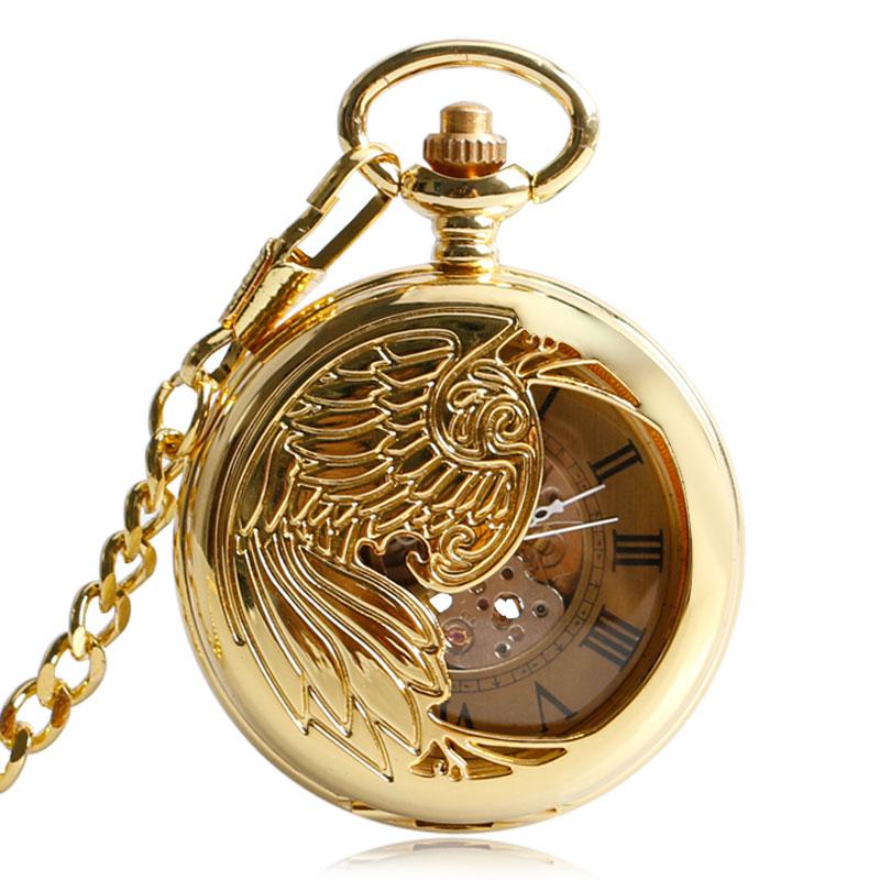 Classic Luxury Golden Pocket Watch Clock Skeleton Pendant Exquisite Phoenix Automatic Mechanical Self Winding Chain Nurse Gift