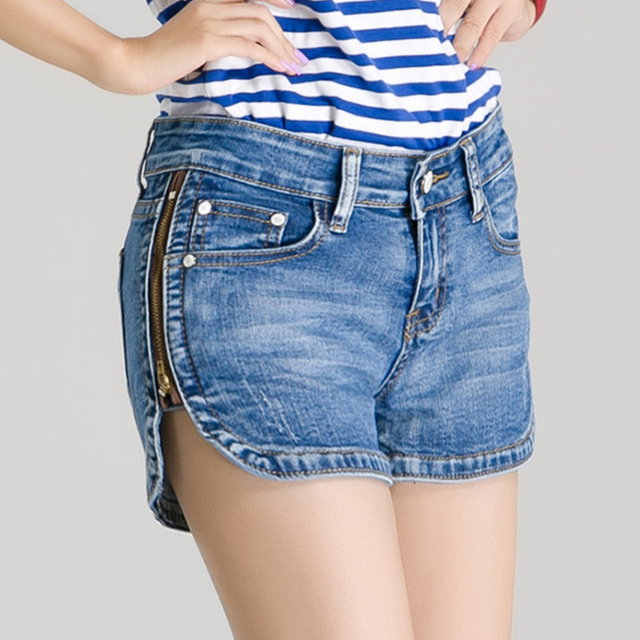 2016 big summer yards personality side zipper denim stretch denim shorts shorts female