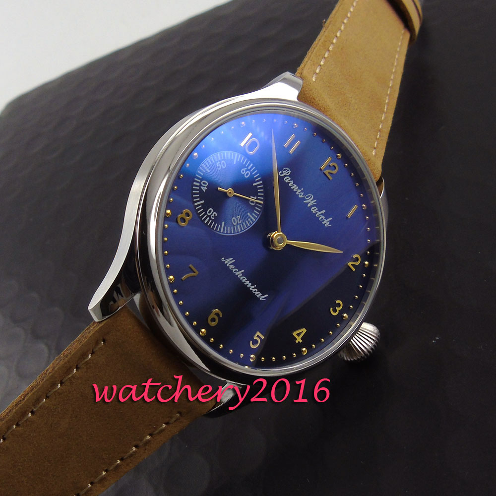 Fashion 44mm Parins blue dial rose golden hands and numbers hand winding movement Men's business Watch class numbers quadratic and cyclotomic fields