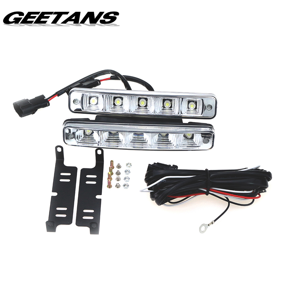 GEETANS 2PCS/Set  Universal Waterproof DC12V Car Light Daytime Running Auto Light DRL Auxiliary Lamp in the day and night AB 2 pcs universal super bright 5 led 10w daytime running light for auto car light drl auxiliary lamp quality assured wholesale