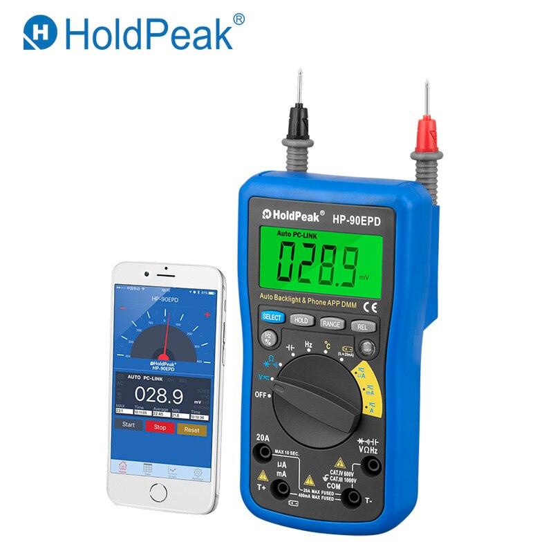 Mobile APP HoldPeak HP-90EPD Auto range multimeter true rms AC DC Voltage Current ResistanceCapacitance Frequency Back light