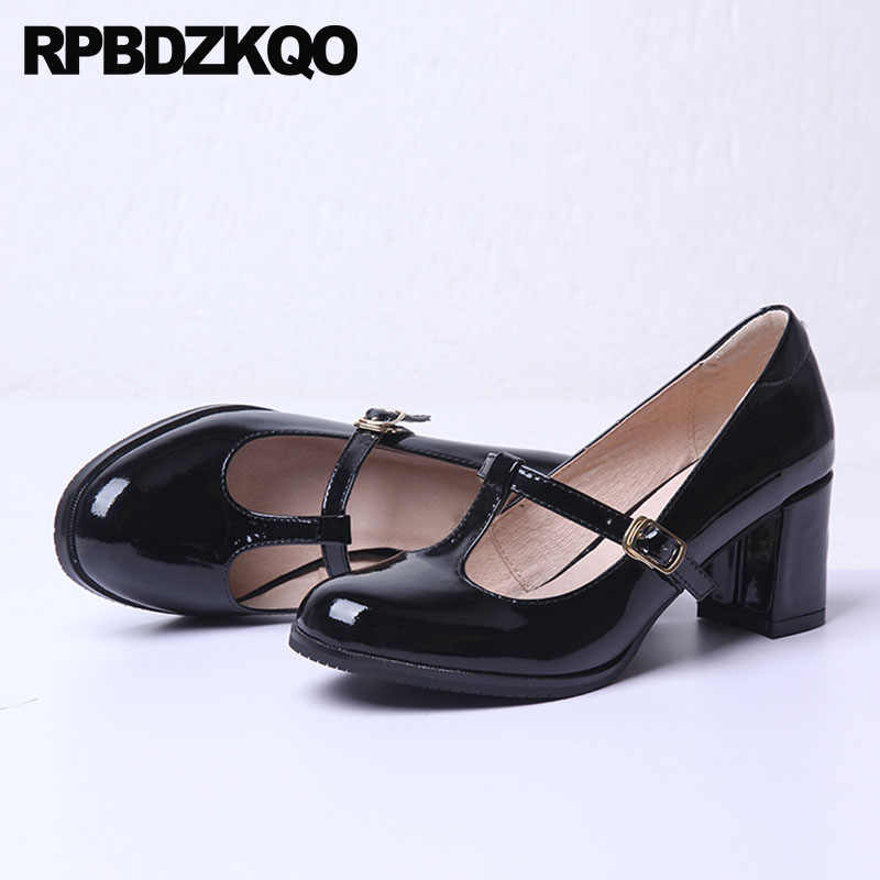 940a8ca236d Block Heels Shoes For Women Genuine Leather Thick Black Kawaii Patent Mary  Jane T Strap Retro