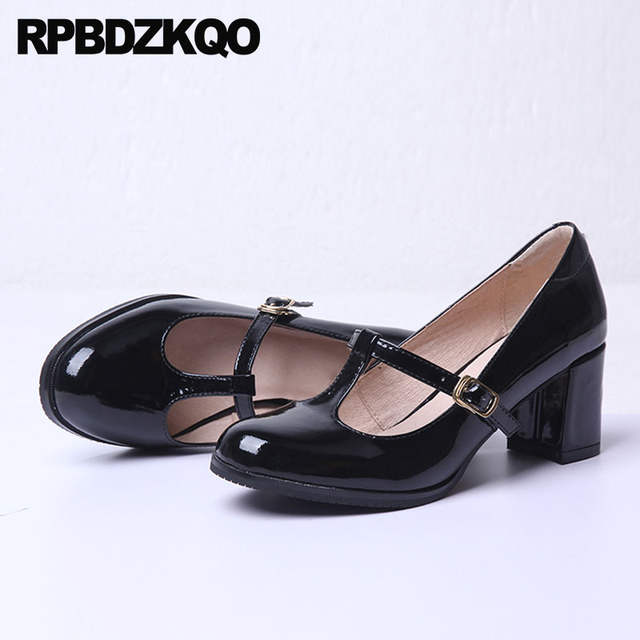 e904113379c7 Online Shop Block Heels Shoes For Women Genuine Leather Thick Black Kawaii  Patent Mary Jane T Strap Retro High Pumps Round Toe Vintage