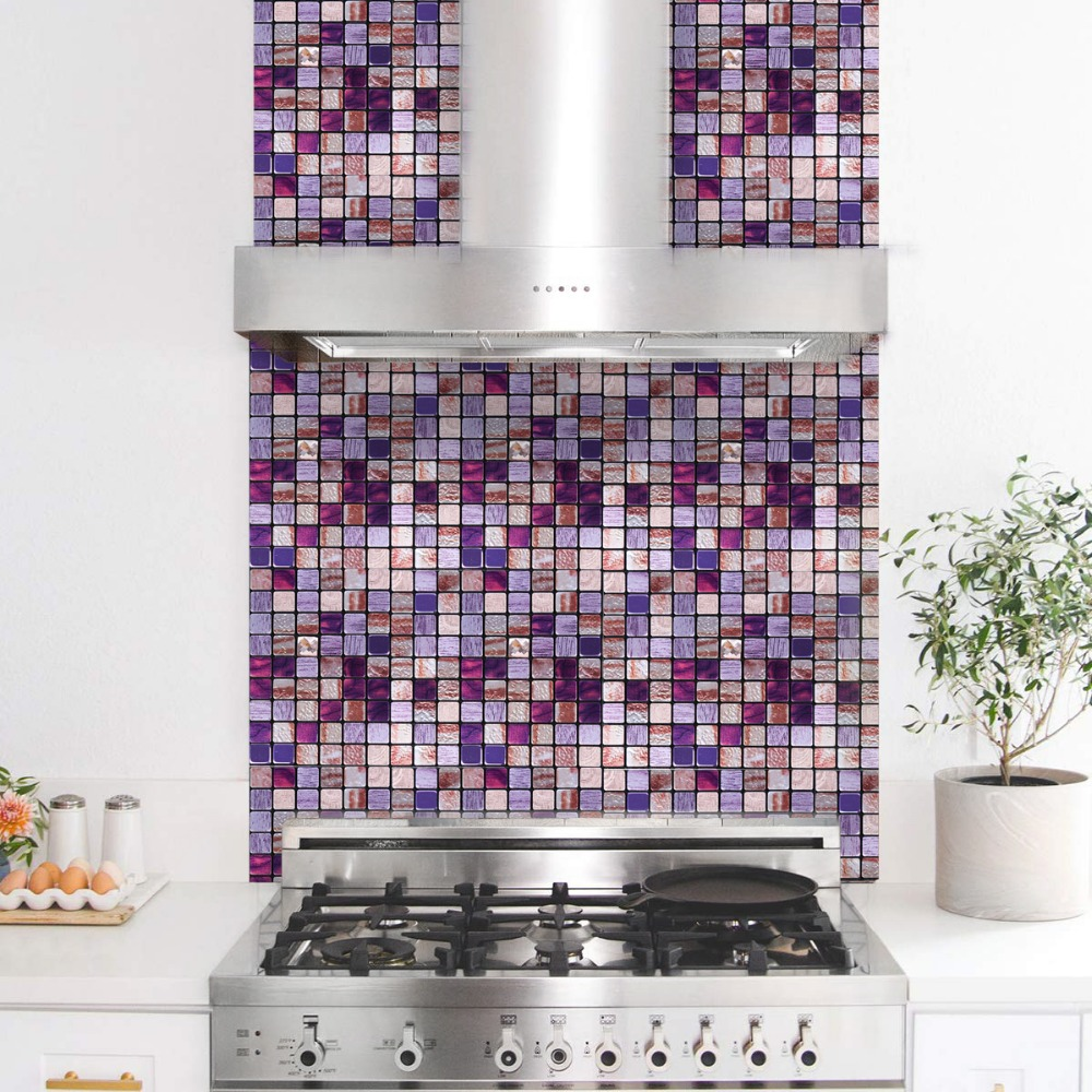 Fabulous Us 32 88 32 Off Wholesale 11 Pieces Homey Mosaic Diy Metal Self Adhesive 3D Wall Stickers Backsplash Peel And Stick Mosaic 12Inch Purple Tiles In Beutiful Home Inspiration Truamahrainfo