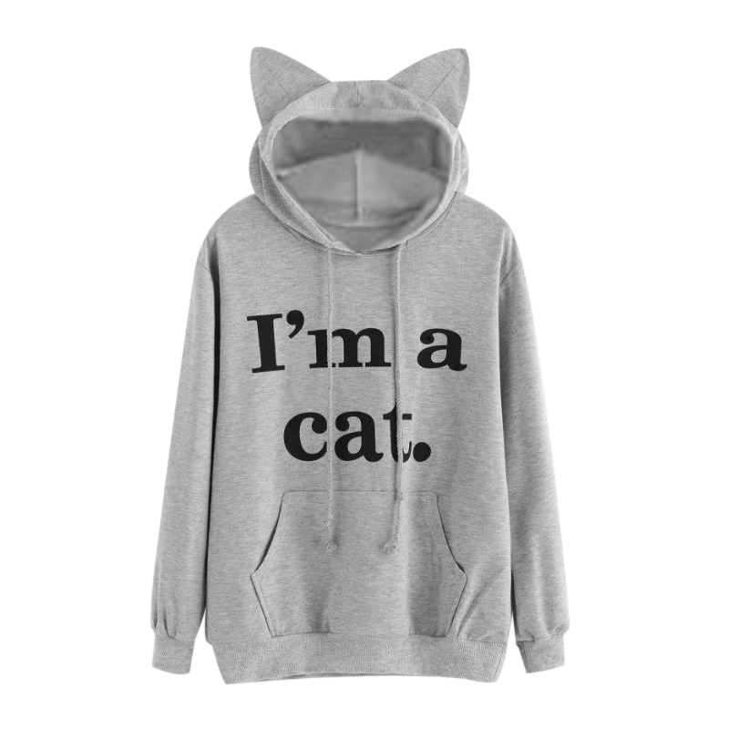 Women Hoodies Printed Black Ear Coat im a cat Black Fashion Autumn And Winter New Products High Quality Hot Sale Fashion